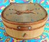 Unusual collar box straw basket work woven Art Deco vintage luggage leather trim
